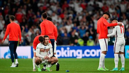 Jack Grealish of England looks dejected following defeat in the UEFA Euro 2020 Championship Final against Italy. (Photo by Andy Rain - Pool/Getty Images)
