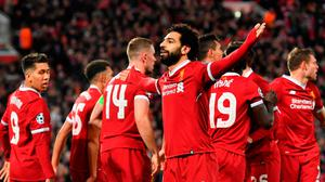 Mohamed opened the scoring for Liverpool against Man City by was taken off early in the second half. /AFP PHOTO /Anthony Devlin/AFP/Getty Images