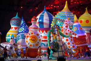 Dancers perform during the opening ceremony of the 2014 Sochi Winter Olympics