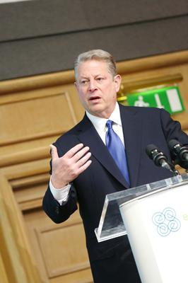 NO REPRO FEE DUBLIN, IRELAND  APRIL 16:  Former Vice President of United States of America Al Gore is pictured  today (Tuesday 16th April) giving the key note address  as part of the second day of Hunger Nutrition Climate Justice Conference held in Dublin Castle. Pic Mac Innes