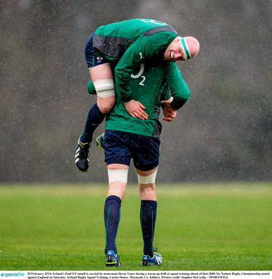 20 February 2014; Ireland's Paul O'Connell is carried by team-mate Devin Toner during a warm-up drill at squad training ahead of their RBS Six Nations Rugby Championship match against England on Saturday. Ireland Rugby Squad Training, Carton House, Maynooth, Co. Kildare. Picture credit: Stephen McCarthy / SPORTSFILE