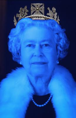A piece of work by artist Chris Levine depicting Queen Elizabeth II is displayed during a photocall at Asprey on May 28, 2012 in London, England