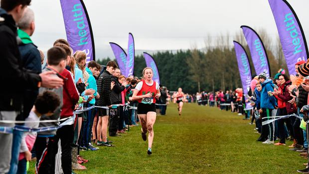 Sarah Healy of Holy Child Killiney, Leinster, on her way to winning the Inter Girls race during the Irish Life Health All Ireland Schools Cross Country at Mallusk Playing Fields in Newtownabbey, Co. Antrim. Photo: Oliver McVeigh/Sportsfile