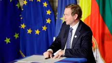 Taoiseach Enda Kenny signs a declaration during an EU summit meeting at the Orazi and Curiazi Hall in the Palazzo dei Conservatori in Rome on Saturday, March 25, 2017.  (AP Photo/Alessandra Tarantino)
