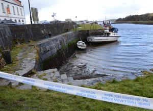 Tragedy: The scene at Westport Quay, Co Mayo, yesterday after the body of Sean Hynes from Ballina was found. Photo: Paul Mealey
