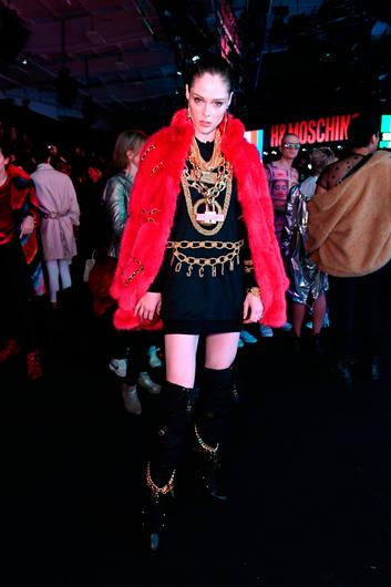 Coco Rocha attends the Moschino x H&M - Front Row at Pier 36 on October 24, 2018 in New York City.  (Photo by Mike Coppola/Getty Images)