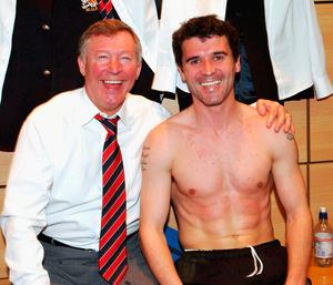Roy Keane and Alex Ferguson pictured after beating Arsenal in 2004. Photo credit: Martin Rickett/PA Wire