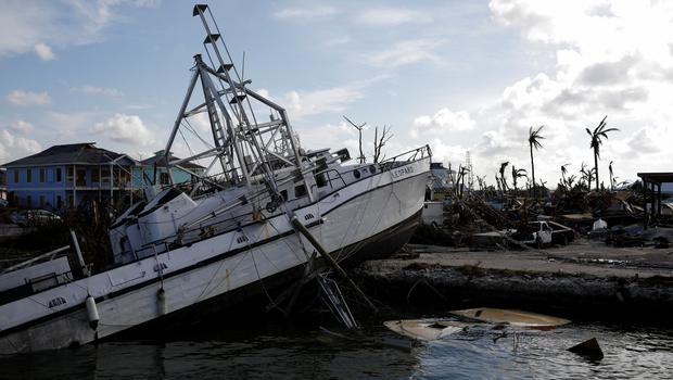 A destroyed boat is seen at a marina after Hurricane Dorian hit the Abaco Islands in Marsh Harbour, Bahamas, September 5, 2019. REUTERS/Marco Bello