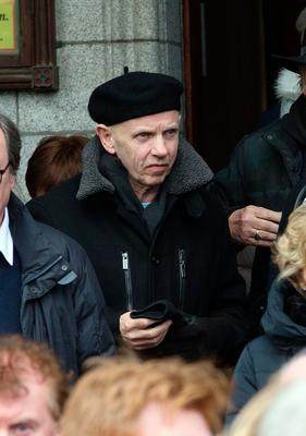 Musician Brush Sheils at the funeral of former Pogues manager Frank Murray in St Paul's Church, Mount Argus. Photo: Tony Gavin