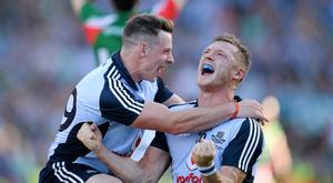 22 September 2013; Dublin's Philip McMahon, left, and Paul Flynn celebrate thier side's victory at the final whistle. GAA Football All-Ireland Senior Championship Final, Dublin v Mayo, Croke Park, Dublin. Picture credit: Stephen McCarthy / SPORTSFILE