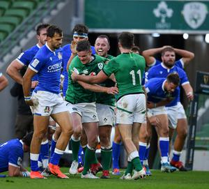 Johnny Sexton celebrates a try in Ireland's Six Nations win over Italy. Photo by Brendan Moran/Sportsfile