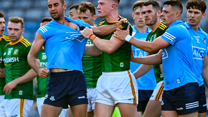 James McCarthy and Thomas O'Reilly kick off a scuffle amongst Dublin and Meath players. Picture: Sportsfile
