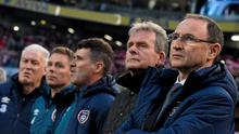 Republic of Ireland manager Martin O'Neill with Steve Walford, coach, Roy Keane, assistant manager, Steve Guppy, coach, and goalkeeping coach Seamus McDonagh before the game