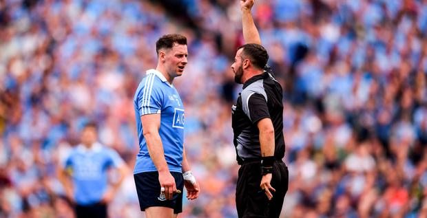 Referee David Gough has words with McMahon during the GAA Football All-Ireland Senior Championship Semi-Final match between Dublin and Kerry
