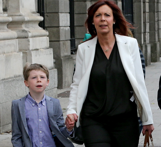 YORE (Margaret): €1 MILLION INTERIM SETTLEMENT FOR 7 YEAR OLD BOY WHO SUFFERED CARDIAC ARREST, HIGH COURT, DUBLIN. 16-6-15. PIC SHOWS:  Margaret Yore, of Virginia, Co. Cavan, leaving court yesterday (TUES), after the court approved a €1,000,000 interim settlement, in relation to a case she took on behalf of her son, Luke (7), against Temple Street Children's Hospital. **** SEE HI-CRT STORY **** PIC: COURTPIX