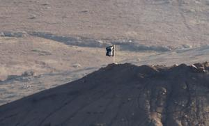 A black flag belonging to the Islamic State is seen near the Syrian town of Kobani, as pictured from the Turkish-Syrian border near the southeastern town of Suruc in Sanliurfa province. Reuters