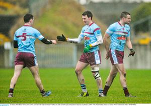 GMIT's Ronan Steede celebrates with team-mate Shane O'Malley at the end of their Independent.ie Sigerson Cup clash with DIT
