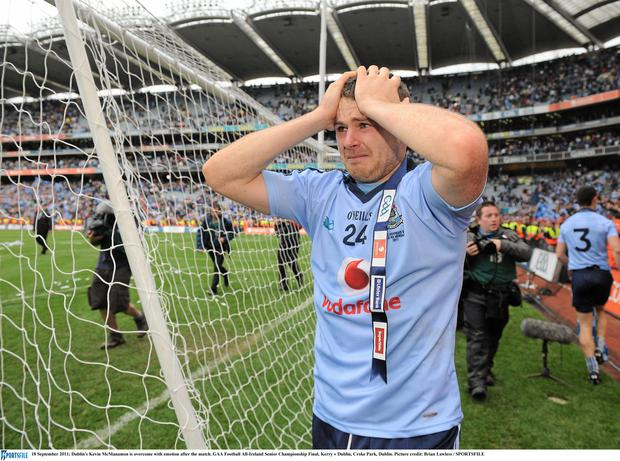 Dublin's Kevin McManamon is overcome with emotion after the match. Picture credit: Brian Lawless / SPORTSFILE