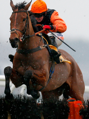 Trevor Whelan riding Tobefair clear the last to win The Betfair Cash Out Handicap Hurdle at Newbury. Photo: Getty Images