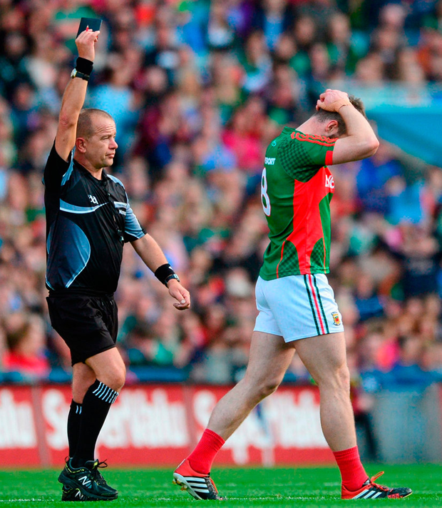 Seamus O'Shea reacts to his black card in 2015. Photo: Sportsfile