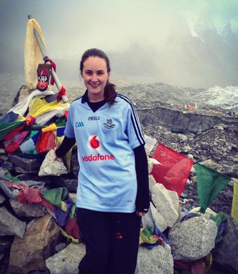 Claire Mc Namara supporting the DUBS from Everest Base Camp