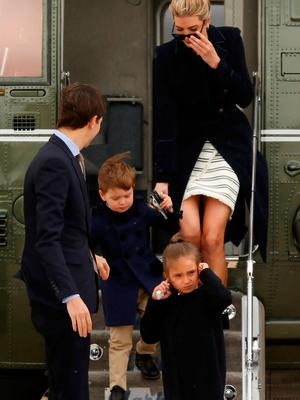 U.S. President Donald Trump's daughter Ivanka Trump and her family, husband Jared Kushner (from L) and children Joseph and Arabella Kushner, arrive aboard the Marine One helicopter with the president to board Air Force One for travel to Florida from Joint Base Andrews, Maryland, U.S. March 3, 2017. REUTERS/Jonathan Ernst