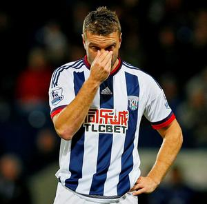 West Brom's Rickie Lambert looks dejected