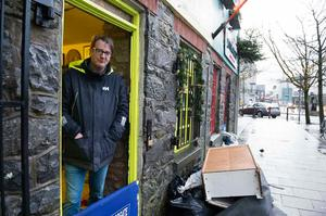 Neil McNeilis who owns Claddagh and Celtic Jewellery on Quay Street saw significant damage to his business with Storm Eleanor. Photo: Andrew Downes