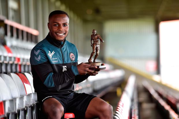Fuad Sule of Bohemians with Player of the Month award for July. Photo: Matt Browne/Sportsfile