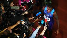 Justin Gatlin of the United States speaks to the media following his win in the Men's 100 metres final in 9.92 seconds during day two of the 16th IAAF World Athletics Championships London 2017 at The London Stadium on August 5, 2017 in London, United Kingdom.  (Photo by Richard Heathcote/Getty Images)