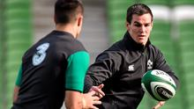 Conor Murray and Johnny Sexton at training together - if the Ireland forwards can provide quality ball, this pair can open up Australia. Matt Browne / SPORTSFILE