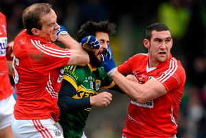 OLD PALS: Kerry's Paul Galvin (l) and Cork's Noel O'Leary. Pic: Brendan Moran / Sportsfile