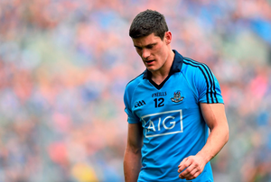 Dublin's Diarmuid Connolly leaves the pitch after being shown a red card during Sunday's drawn All-Ireland semi-final against Mayo