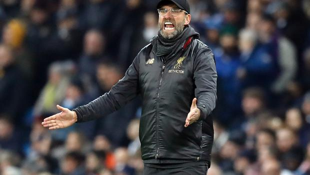 Jurgen Klopp was far from impressed by Vincent Kompany's challenge as Liverpool saw their unbeaten start to the Premier League season come to an end (Martin Rickett/PA)