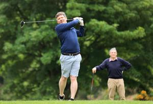 Herald GAA reporter Conor McKeon tees off on the 11th, as his dad Gay looks on at the Hermitage Golf club in Lucan. Picture Credit: Frank McGrath