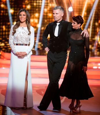 Amanda Byram with Des Bishop and Giulia Dotta as they await the judges' verdicts. Photo: Kyran O'Brien
