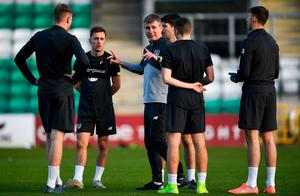 Head Coach Stephen Kenny speaks to players during a Republic of Ireland U21's squad training session at Tallaght Stadium in Dublin. Photo: Harry Murphy/Sportsfile