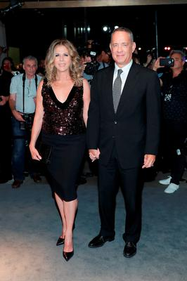 Rita Wilson and Tom Hanks attend Tom Ford fashion show during New York Fashion Week September 2016 at 99E 52d St. on September 7, 2016 in New York City.  (Photo by Neilson Barnard/Getty Images)