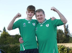 Peter Lynch and his son, Alex, from Terenure, who have won a trip to the rugby World Cup in Japan. Picture: Damien Eagers / INM