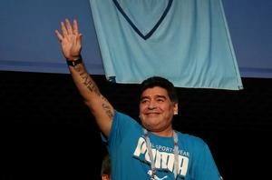 Diego Maradona in the stands before the 2018 World Cup Group D match between Argentina and Nigeria at Saint Petersburg Stadium, Saint Petersburg, Russia