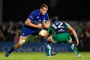 Devin Toner, Leinster, in action against Dave McSharry, Connacht