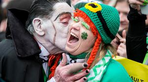 Dracula with spectators during the St Patricks day parade in Dublin. Pic:Mark Condren 17.3.2017