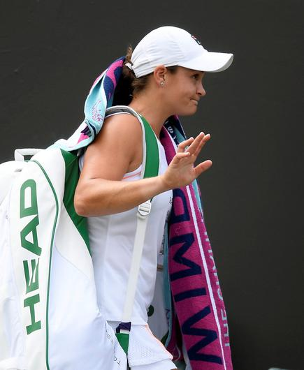 Australia's Ashleigh Barty reacts after losing her fourth round match against Alison Riske