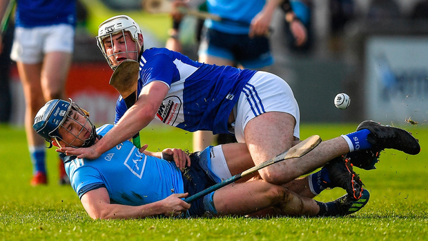 David Keogh of Dublin in action against Ryan Mullaney of Laois. Photo by Brendan Moran/Sportsfile
