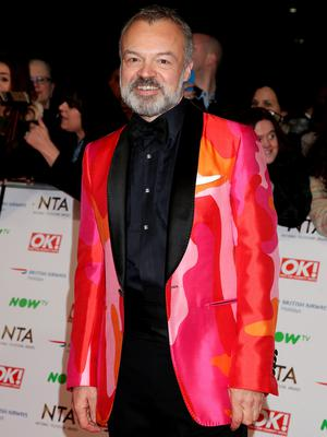 Graham Norton arriving at the National Television Awards 2016 held at The O2 Arena in London. Photo: Yui Mok/PA Wire