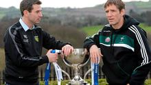 New Donegal manager Rory Gallagher with new Armagh boss Kieran McGeeney when they had different roles at the launch of the 2013 Allianz Football League