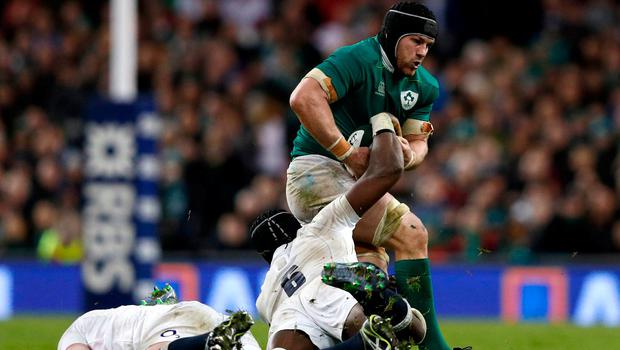 Sean O'Brien on the charge during Ireland's victory against England. Photo: Adrian Dennis/AFP/Getty Images