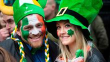 Eden Benjamin from Israel and Annelin Hennessy Fagerstroem from Norway at the St Patrick's Day parade in Dublin. Photo: Tony Gavin 17/3/2017
