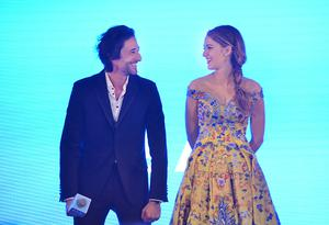 """Actor Adrien Brody and actress Blake Lively attend press conference of movie """"Log Out"""" on May 11, 2015 in Beijing, China."""