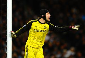 Petr Cech of Chelsea gives instructions during the Barclays Premier League match between Manchester City and Chelsea